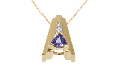 Lant cu pandantiv aur, tanzanit, diamant
