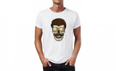 Tricou barbati Skull with glasses,