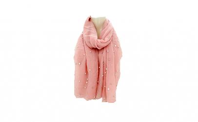 Esarfa roz cu perle albe Elegance