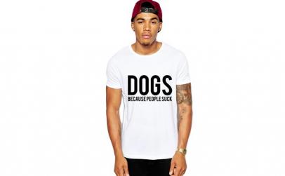 Tricou barbati alb - Dogs