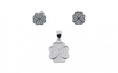 Set Argint 925 Trifoi cu Pietre