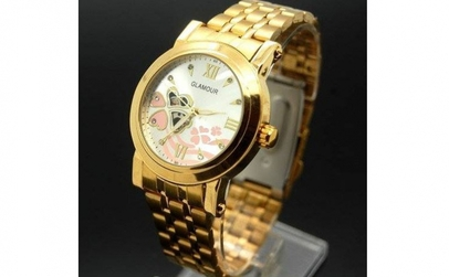 Ceas Glamour Golden Pink Clover Automati