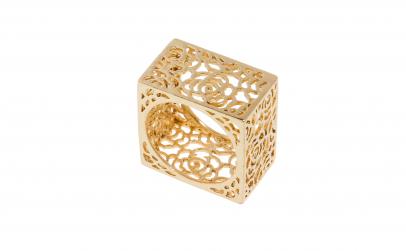 Inel din inox aurit, model cub