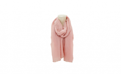 Esarfa roz cu perle