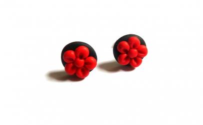 Cercei floricele rosii handmade
