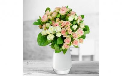 Buchet de 9 minirosa albi-roz