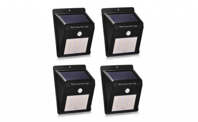 Set 4 Lampi Solare cu 20 LED, senzor de