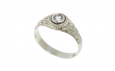 Inel vintage din aur alb 12k cu diamant