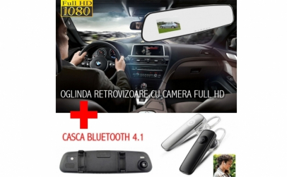 Oglinda auto + Casca Bluetooth