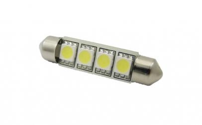 Bec LED SOFIT 42MM 4 SMD 5050 12V ROSU