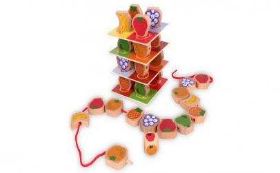 """Joc lemn snuruire """"Turnul cu fructe"""""""