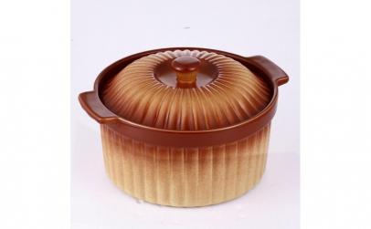 Cratita rotunda din ceramica, capac, 2L,