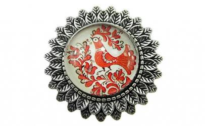 Brosa argintiu antic model folcloric cuc