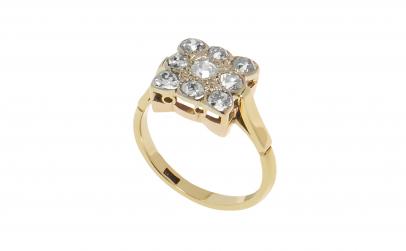 Inel din aur galben 9K, 9 diamante