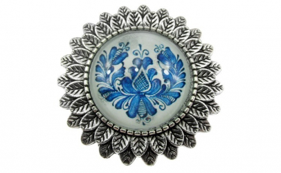 Brosa argintiu antic cu model folcloric