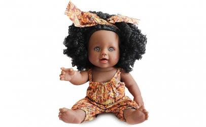 Papusa bebelus afro reborn pentru fetite
