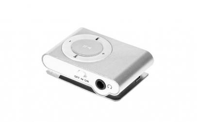MP3 player argintiu, slot microSD, Quer
