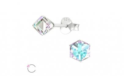 Cercei argint, Cub cu cristale Swarovski