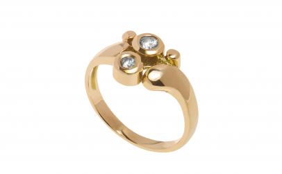 Inel din aur galben 14K, cubic zirconia