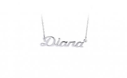 Colier argint 925 rodiat cu nume Diana