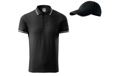 Tricou barbati, model polo, negru + sapc
