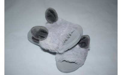 Papuci gri cu blanita pentru fetite