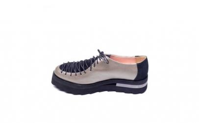 Pantofi metalizat din piele naturala
