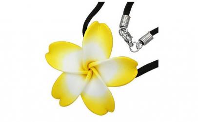 Colier cu floare plumeria si snur negru
