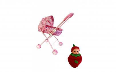 Carucior roz cu bebelus jucarie cadou