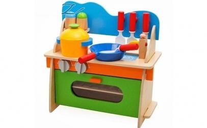 Bucatarie lemn pentru copii,10 accesorii