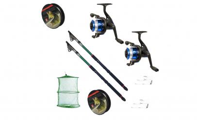 Kit pescuit sportiv cu doua lansete 2.4m