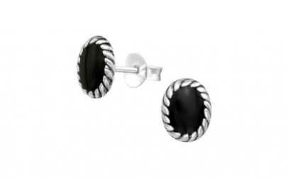 Cercei argint, Oval, Black, A4S19806