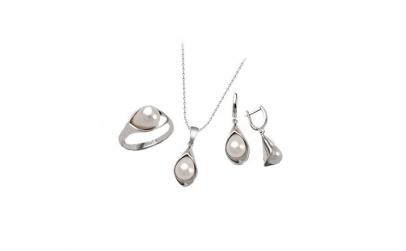 Set inel, cercei,pandantiv cu perle de