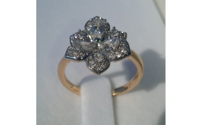 Inel Luxury Flower Brilliant, aur 18k