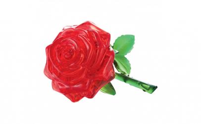 Puzzle 3D  model trandafir rosu de