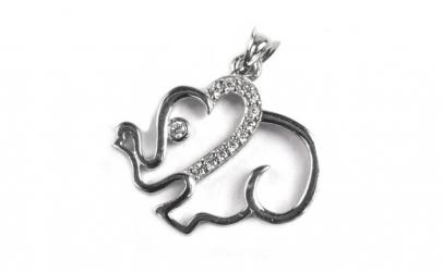 Pandantiv Argint 925 Elefant cu Pietre,