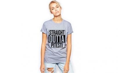 Tricou dama gri - Straight Outta
