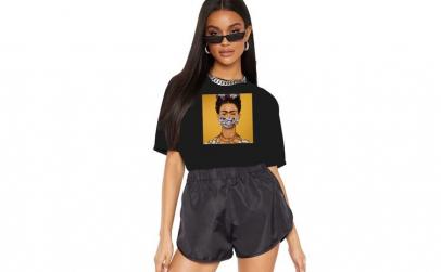 Tricou dama negru - Frida in Pandemie