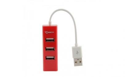 Hub USB SBOX H-204R 4 ports USB 2.0 Red