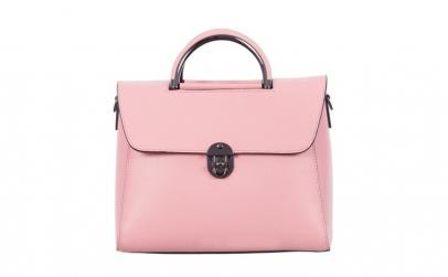 Geanta roz din piele naturala 8035