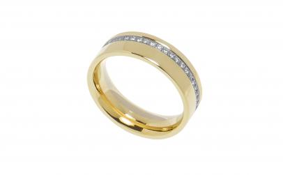 Inel verigheta din aur 14K cu diamante