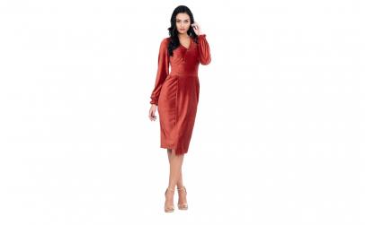 Rochie eleganta, culoare caramiziu