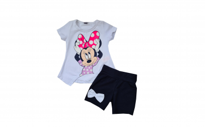 Set Minnie tricou si pntalon scurt bleum