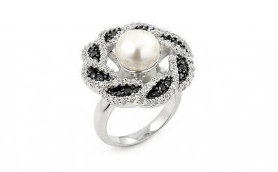 Inel argint 925 rodiat cu perla de