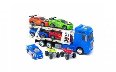 Set camion cu 5 masinute si 2 atv uri