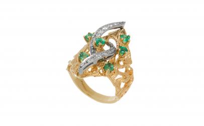 Inel aur 14 K cu smarald si diamante