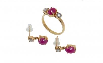 Set bijuterii din aur rubine si diamante