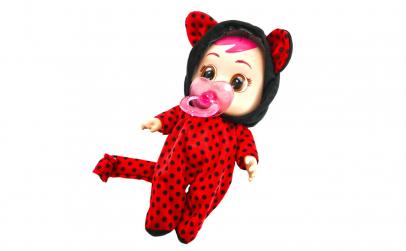 Papusa bebelus rosu 20 cm cu suzeta