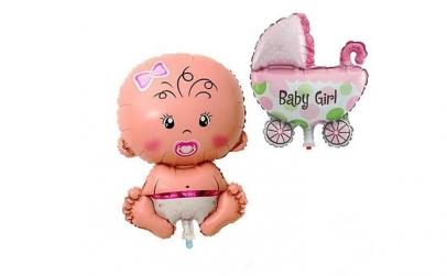 Set 2 baloane folie - fetita si carucior