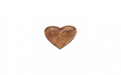 Platou in forma de inima din lemn de man